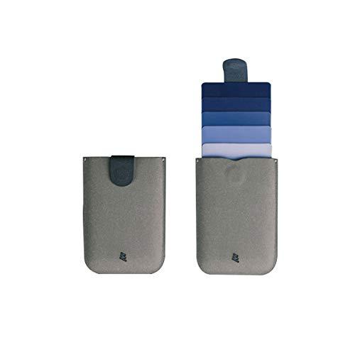 Slim wallet, DesignNest DAX wallet, Cascading pull-tab wallet, Hold upto 6 cards, small wallet, Card holder, Purse (BlueGrey, Microfiber)