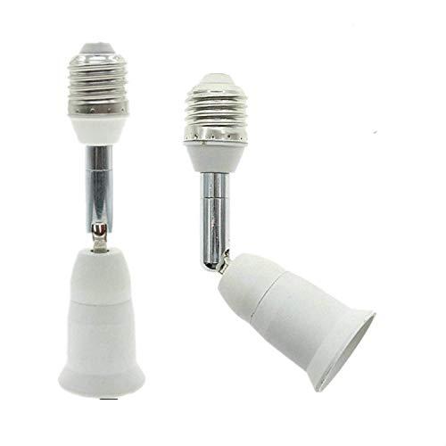 Aukora E26 E27 Light Bulb Socket Extender, Bendable Medium Base Light Socket Converter for Motion Sensor Light Bulb Standard LED Bulbs, Adjustable Vertical 180° Horizontal 360°(2 Pack)