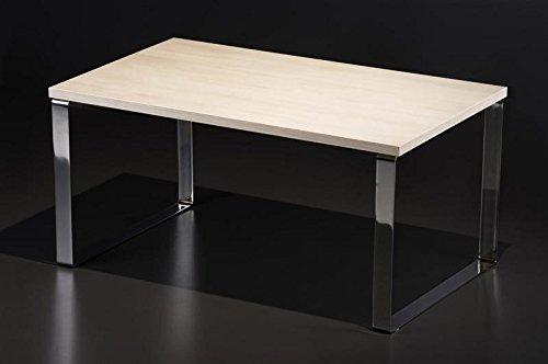 Endo-Möbel, salontafel met chromen onderstel, woonkamertafel, glas met glijdertafel sonoma eiken