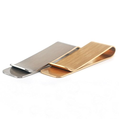 AKOAK 2 Pcs/Set Multi Functional Brass and Stainless Steel Metal Bookmark Clips,Metal Business Cards Credit Cards Clips,Metal Cash Bills/Receipts Clips