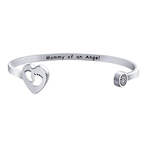 MYOSPARK Mommy of an Angel Baby Feet Cuff Bangle Bracele Baby Memorial Jewelry Miscarriage Sympathy Gift for Infant…