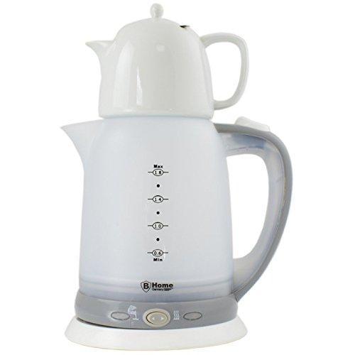 1,8L Elektro Wasserkocher | Teebereiter | Teekocher | Teezubereiter | Samowar inkl. Keramik-Teekanne mit Siebeinsatz