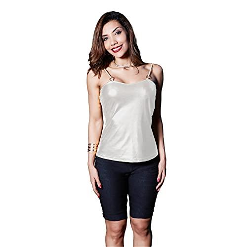 Camisola De Cuero De Patente De PU De Metal para Mujer, Camiseta Sin Mangas Sexy Sin Espalda, Camisa De La Blusa De Chaleco,Plata,M