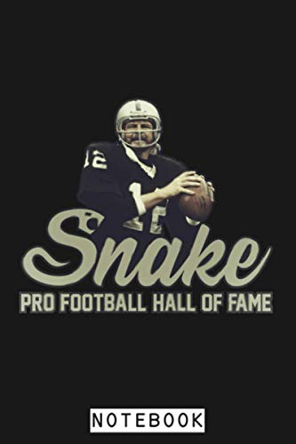 Snake Ken Stabler Hof Notebook: Journal, Planner, 6x9 120 Pages, Matte Finish Cover, Diary, Lined College Ruled Paper