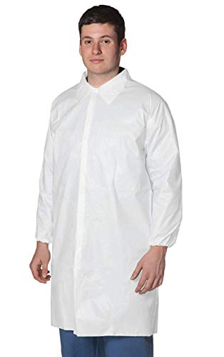Pack of 10 White Lab Coats XL Size. Hook and Loop Fastener, Elastic Wrists, No Pockets. Unisex Disposable Spunbond Polypropylene Labcoat. Breathable Protective Visitor Coat. Coated Laboratory Coats.