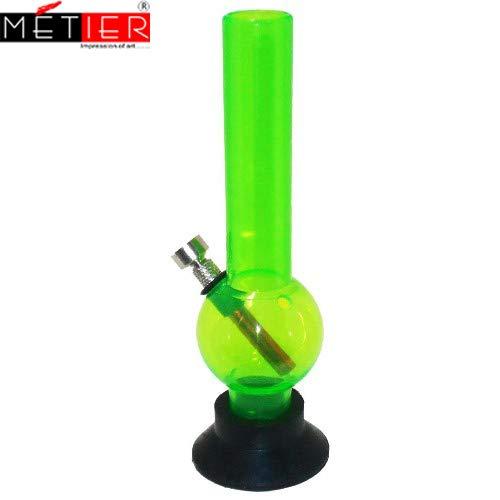 Metier 8-inch Acrylic Mini Bong (8 cm x 8 cm x 20 cm, Green)