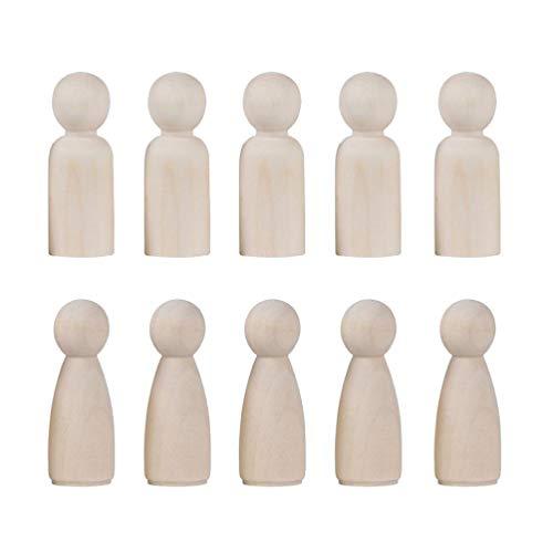 NUOBESTY 40 Stücke DIY Holzfiguren zum Bemalen und Basteln Tortenfigur Holz Figurenkegel Figuren Holzkegel Puppenfamilie für Weihnachten Hochzeit Geburtstag Dekoration