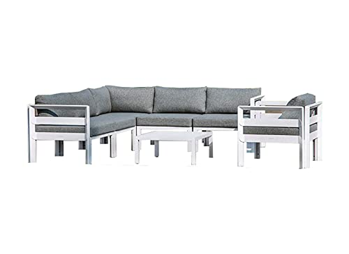 Muebletmoi - Salón de jardín 1 sofá esquinero, 1 sillón, 1 mesa baja de aluminio blanco y cojines de tela gris jaspeado – Estilo Lounge – Tiare