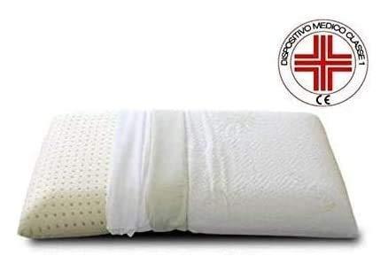 EVERGREENWEB - Cuscino in Lattice 40x70 Alto 12cm Cervicale DISPOSITIVO MEDICO Modello Saponetta con Doppia Fodera Tessuto Sfoderabile Aloe Vera e 100% Cottone Guanciale Ortopedico per Dolori al Collo