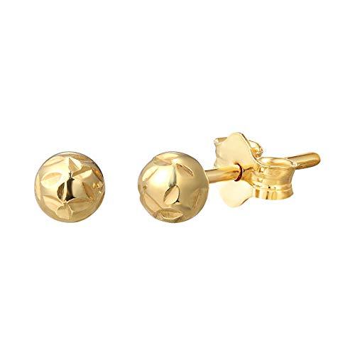 Orecchini a perno in argento Sterling placcato oro 18 carati con sfera martellata