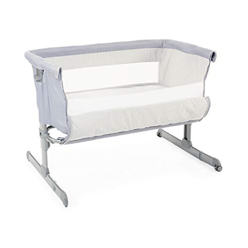 Chicco Next2Me Cuna de Colecho para Bebé con Colchón, Apertura Lateral, Altura Ajustable, Paneles de Malla, Ruedas y Bolsa de Viaje 0-6 Meses, 9 kg - Gris (Grey)