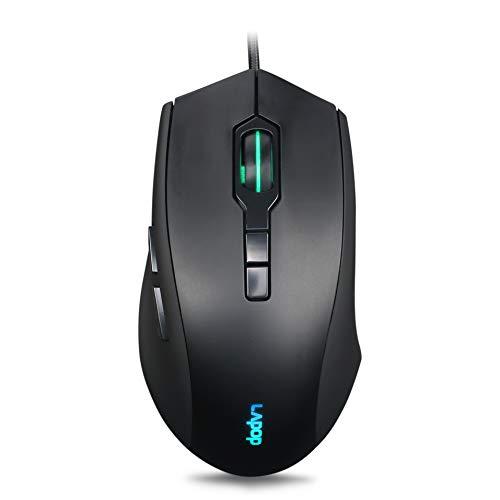 RGB Gaming-Maus, 3200 DPI, kabelgebunden, optische Maus, mit RGB-Hintergrundbeleuchtung und programmierbaren Tasten, für Laptop, PC, Computer, Spiele und Arbeit Schwarz 60II