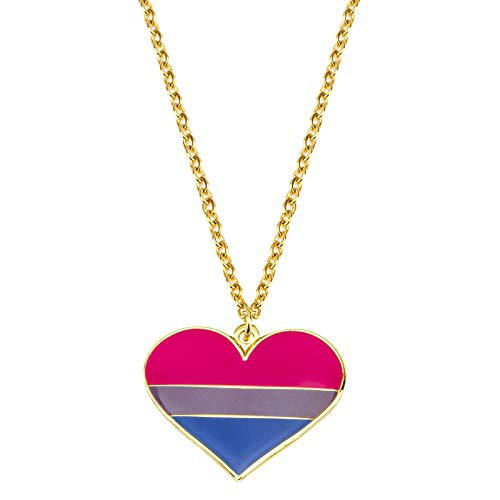 Bisexual Heart Necklace LGBT Necklace Gay Pride Gift Rainbow Pride Necklace LGBT Jewelry Pride Gift