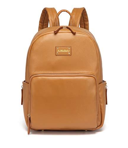 AMB Multifunktions-Rucksack, modisch, praktisch, aus PU-Leder, für Baby-Windeln, Wickeltasche mit Wickelunterlage