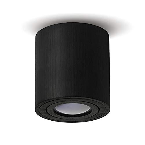 JVS luminaria de superficie luminaria de superficie luminaria de techo Led Milano GU10 casquillo 230V redondo, alu-negro, lámpara de techo giratoria foco lámpara de techo luminaria de superficie