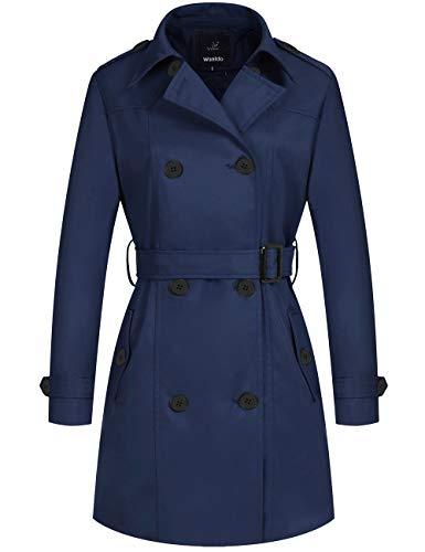 Wantdo Women's Rain Trench Coat Long Trench Jacket with Belt Navy Medium