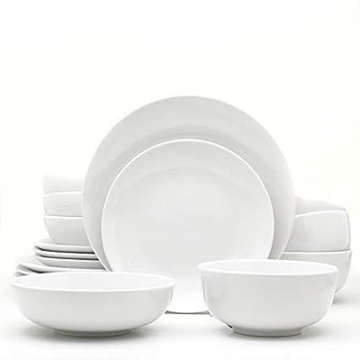 Euro Ceramica WHT-868160 Essential Dinnerware and Serveware, 16 Piece Set, Service for 4, Pure White
