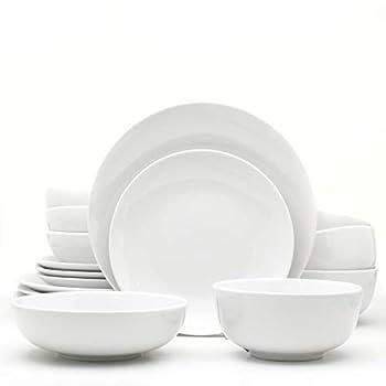Euro Ceramica Essential Collection Porcelain Dinnerware and Serveware 16 Piece Set Service for 4 Classic White