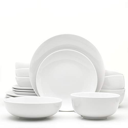 Euro Ceramica Essential Collection Porcelain Dinnerware and Serveware, 16 Piece Set, Service for 4, Classic White