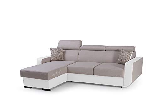 mb-moebel Ecksofa mit Schlaffunktion Eckcouch mit Bettkasten Sofa Couch Wohnlandschaft L-Form Polsterecke Pedro (Beige + Weiß, Ecksofa Links)