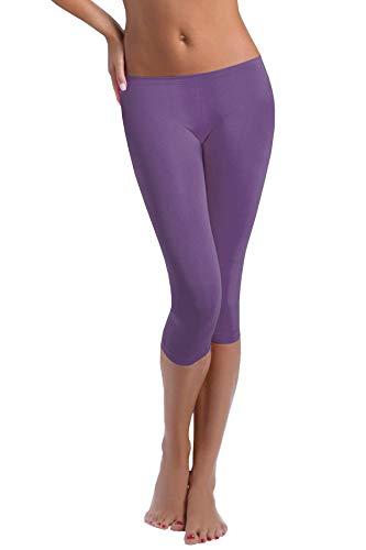 FUNGO Leggings Mujer 3/4 Pantalones de Yoga Deportivas Leggins Para Mujer F34 (46, Lila)