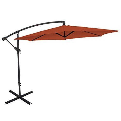 Ultranatura Ampelschirm, mit Kurbel, als Balkonschirm, Gartenschirm oder Marktschirm nutzbar, besonders groß und standfest, Farbe: terracotta