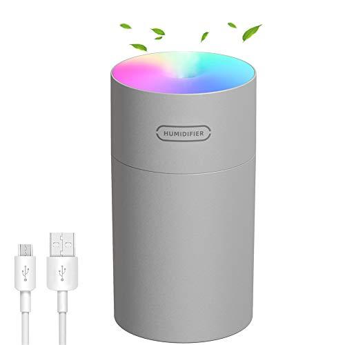 LinTimes Luftbefeuchter Aroma Diffuser USB Ultraschall Humidifier, Duftöl Diffuser für Schlafzimmer Wohnzimmer Auto 270 ml Bunte Lichter - Grau