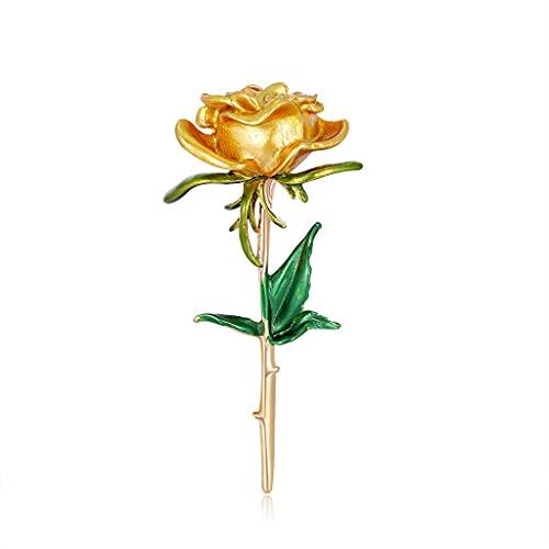 CXSD Broche de flor de rosa, broche vintage de aleación, broche de flor para mujer (color: oro)