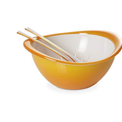 Omada Design Tazón, colador y ensalada (3 piezas), 26 cm de diámetro, de color, ergonómico y con un diseño innovador, interior blanco y borde exterior de color, Trendy Line
