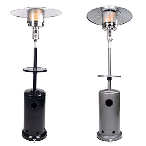 GardenCo Outdoor Gas Patio Heater - Including Weatherproof Cover - Freestanding Outdoor Garden Heater with Drinks Table - Portable Wheels - 13.5KW (Black)