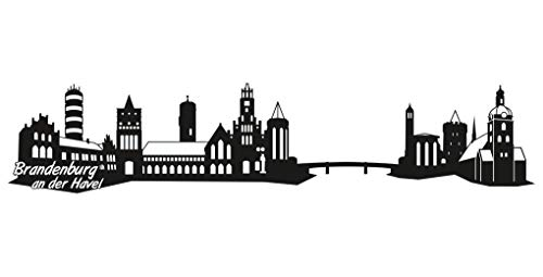 Samunshi® Brandenburg an der Havel Skyline Aufkleber Sticker Autoaufkleber City Gedruckt in 7 Größen (20x4,3cm schwarz)