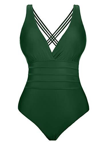 Aibrou Damen Einteiler Badeanzug,Einteilige Bauchweg Bademode Schwimmanzug Schlankheits figurformend Strandmode mit V-Ausschnitt Green M