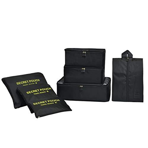Coolzon Packing Cubes Koffer Organizer, 7 Stück Kofferorganizer Packtaschen Packwürfel mit Schuhbeutel Wäschebeutel Reiseorganizer Kleidertaschen für Rucksack (Schwarz)