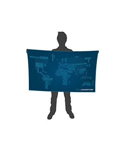 Lifeventure 63068 SoftFibre Advance Trek Towel - Giant (World in Words) Unisex-Adult, Blue