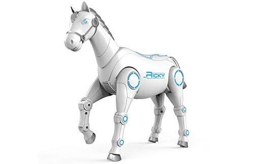 RC TECNIC Caballo Robot Teledirigido Ricky ¡Camina, Canta y Baila! Robot Programable Radiocontrol con Mando | Macota Interactiva Robótica Juguete para Niños