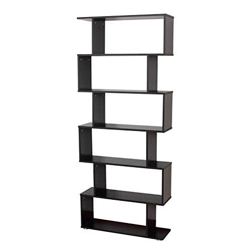 HOMCOM Estanteria Libreria 6 Estantes Madera Forma S 80x25x192cm Estantes Color Negro