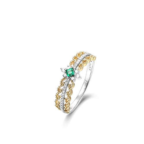 AueDsa Anillos Oro Anillo Oro 18K Mujer Redondo Esmeralda Verde Blanca 0.25ct Anillo Talla 25