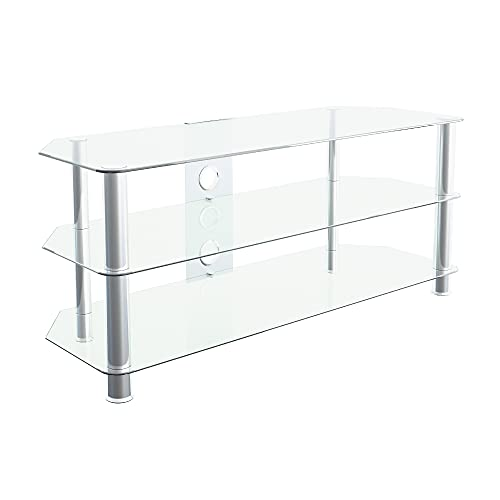 """mahara Glass TV Stand for HD LED LCD 4K 8K QLED TVs up to 55"""" inch by TV Furniture Direct (114cm, Clear Glass, Chrome Leg)"""