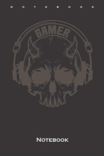 Gamer Skull with horns and headset Notebook: Dot Grid Journal/Logbook for Fans and friends of the digital and unlimited world in the world wide web