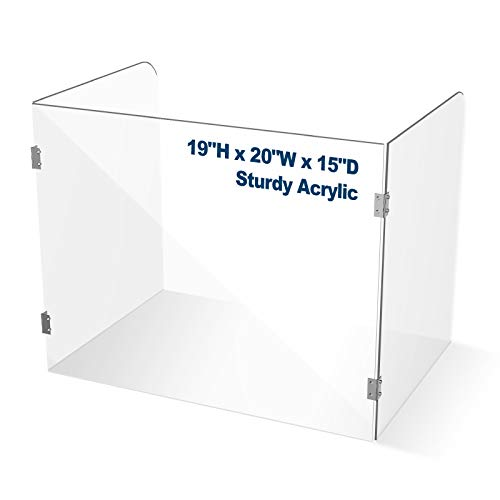"""Plexiglass Shield for Desk Classroom, No Cutout, 20""""W x 19""""H x 15""""D, 1/4"""" Thick and Clear, Portable Acrylic Folding Sneeze Guard, Plexiglass Barrier for Counter, Student, Table, Teacher, Office"""