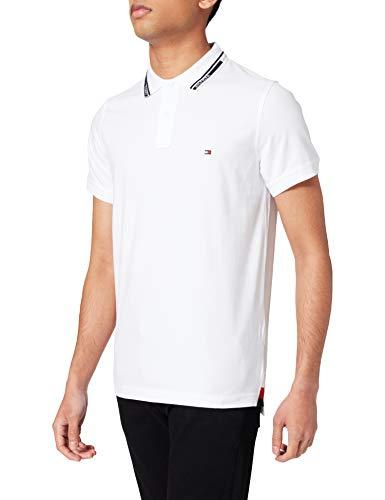 Tommy Hilfiger 1985 Hilfiger Collar Slim Polo Camisa, Blanco, S para Hombre