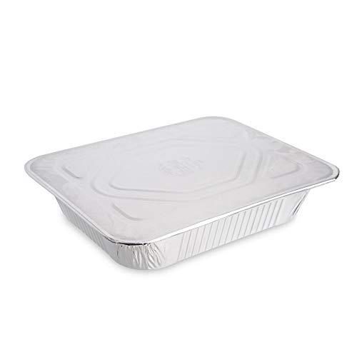 Paquete de 5 sartenes desechables de aluminio con tapas de aluminio ~ 32 x 26 cm ~ Ideal para hornear, asar, cocinar y almacenar alimentos y más.