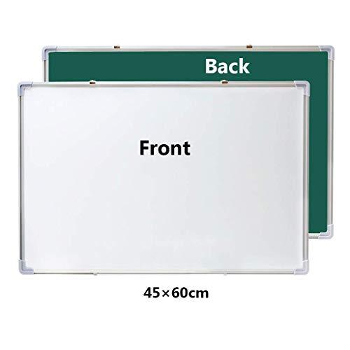 Doppelseitiges magnetisches Whiteboard mit verstellbarer Stiftablage und drehbarem Haken Aluminiumrahmen für Klassenzimmer Schule Büro (Größe: 45 * 60 cm)