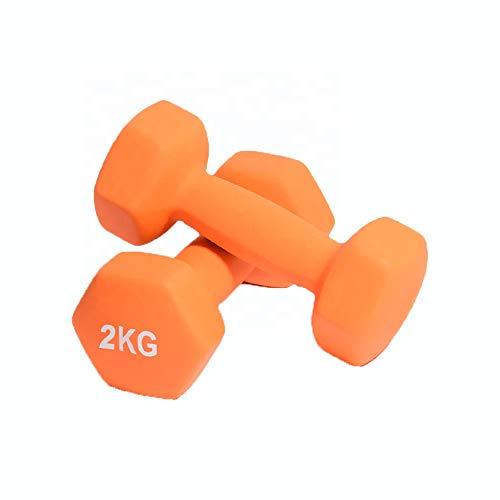 Fidusport Dumbbell Set Gusseisenkern Neopren 2er Set - 2x2KG - Mit freiem Gewicht Handgewicht Hanteln Gewichte Für Bodybuilding Fitness/Gewichtheben (Orange, 2x2KG)