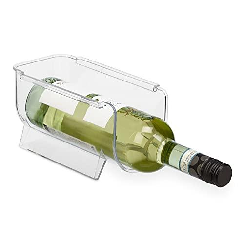 Relaxdays Botellero para frigorífico apilable, Almacenamiento de Bebidas, Limo, Vino, Cerveza, 10 x 11 x 20,5 cm, Transparente