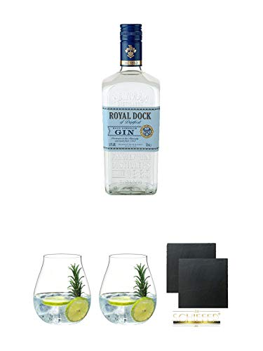 Haymans Royal Dock Gin 0,7 Liter + Gin Tonic Glas - 5414/67 + Gin Tonic Glas - 5414/67 + Schiefer Glasuntersetzer eckig ca. 9,5 cm Ø 2 Stück