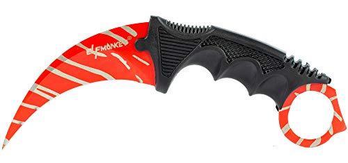 Elfmonkey Karambit Zebra Tarn Design in Rot & grau | extra scharf | Taschenmesser Angelmesser Jagdmesser Survival Outdoor