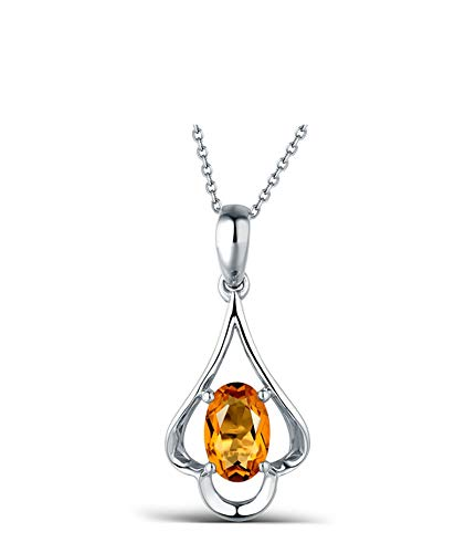 AYDOME Necklace Eternity, 0.44ct Citrine Oval Hollow Drop 18K White Gold Yellow Women