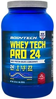 BodyTech Whey Tech Pro 24 Protein Powder Protein Enzyme Blend with BCAA's to Fuel Muscle Growth Recovery, Ideal for PostWorkout Muscle Building Red Velvet (2 Pound)