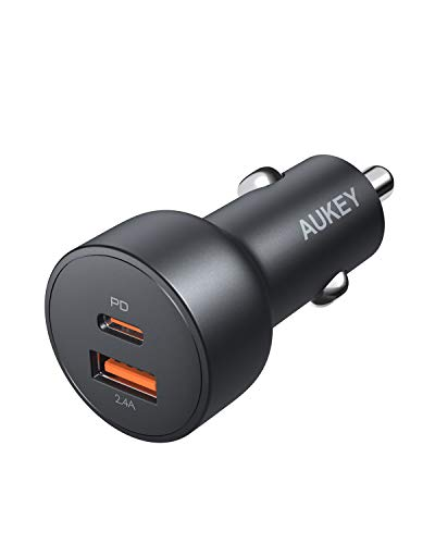 Fast Car Charger, AUKEY 30W USB C Car Charger with Quick Charge 3.0, Dual PD Car Charger for iPhone 11 Pro Max XS XR X 8 SE, AirPods, iPad, Samsung S20 S10, Google Pixel 4 4XL, and Switch